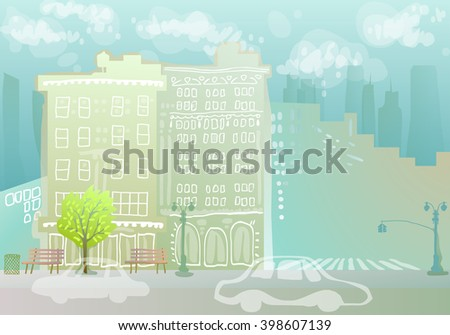 colorful cityscape with doodle buildings - stock vector
