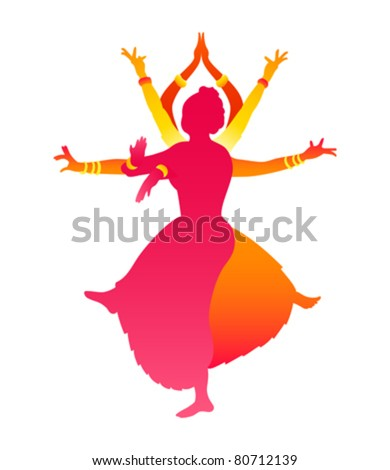 Colorful classic Indian female dance Bharatanatyam - stock vector