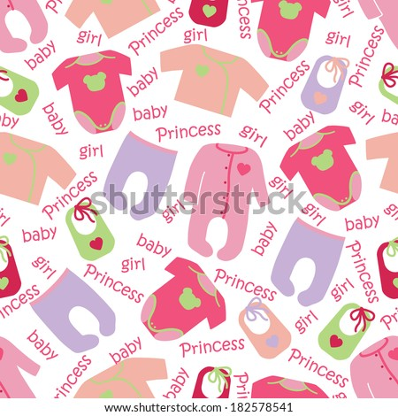 Colorful clothes for newborn baby girl seamless pattern or ornament with words baby girl Princess.Girl models, baby fashion.For fabrics,Wallpaper,packaging,background.Vector cartoon illustration - stock vector