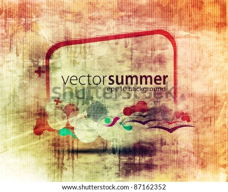 colorful cloud composition with grunge splats and banner for your text. - stock vector