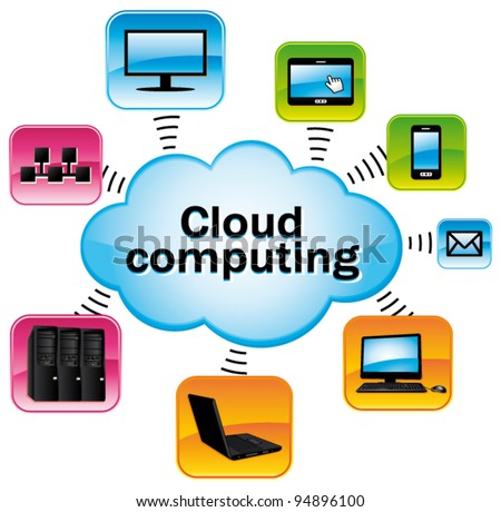 Colorful cloud computing. Technology connectivity concept. Vector illustration.