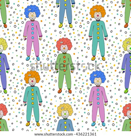 Colorful clowns seamless pattern background. Kids textile design. Vector circus illustration - stock vector