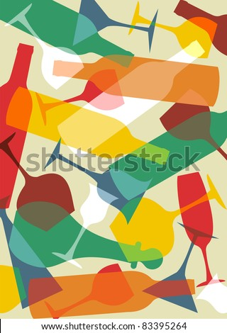 Colorful cocktail glasses and bottles background. - stock vector