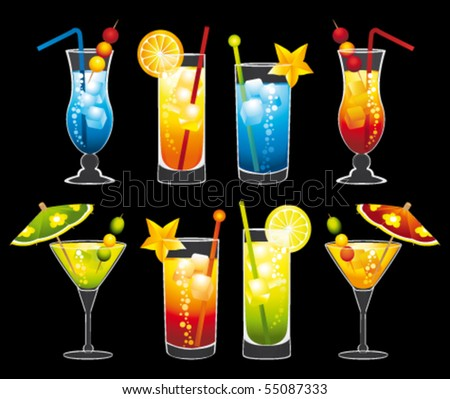 Colorful cocktails collection. Vector illustrations. - stock vector