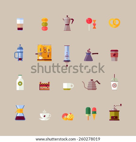 Colorful coffee maker vector flat icons set. Modern icons for coffee shop with french press, aeropress, chemex. Vector isolated illustration - stock vector