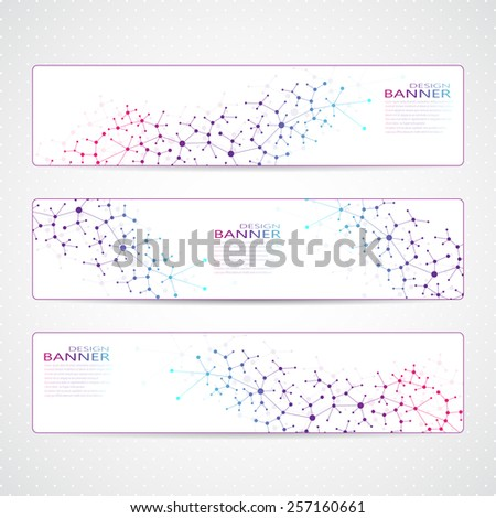 Colorful Collection horizontal banners Molecule and communication. Vector illustration - stock vector