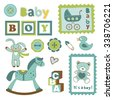 Colorful collection of baby boy announcement postal stamps. vector illustration - stock vector