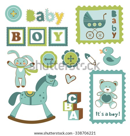 Colorful collection of baby boy announcement postal stamps. vector illustration