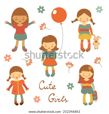 Colorful collection of cute little girls characters. vector illustration - stock vector