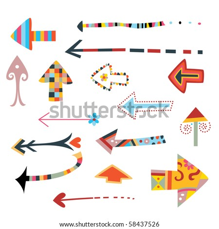 Colorful collection of decorative arrows. - stock vector