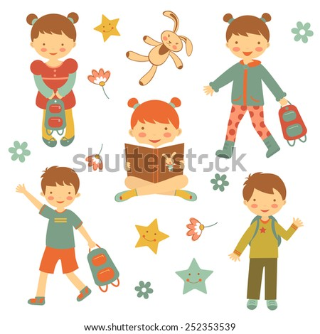 Colorful collection of different kids characters. vector illustration - stock vector