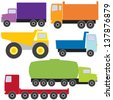 Colorful collection of different trucks - stock vector