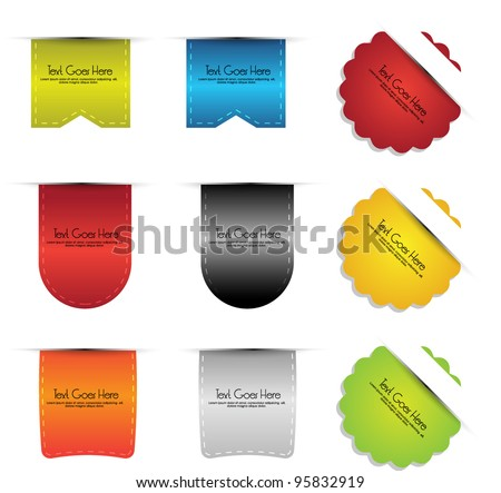 colorful collection of sticker badges and labels - stock vector