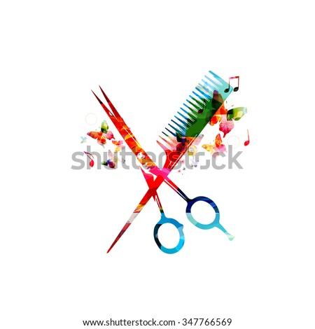 Colorful  comb and scissors design - stock vector