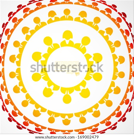 Colorful community people icons in circle - stock vector