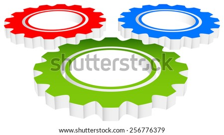 Colorful Composition of 3d Gears, Cogwheels,Gearwheels or Cogs in Perspective - stock vector
