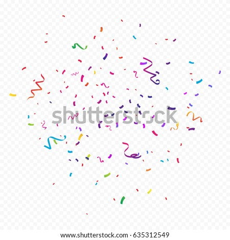Colorful Confetti And Ribbon Falling On Transparent Background. Vector Illustration