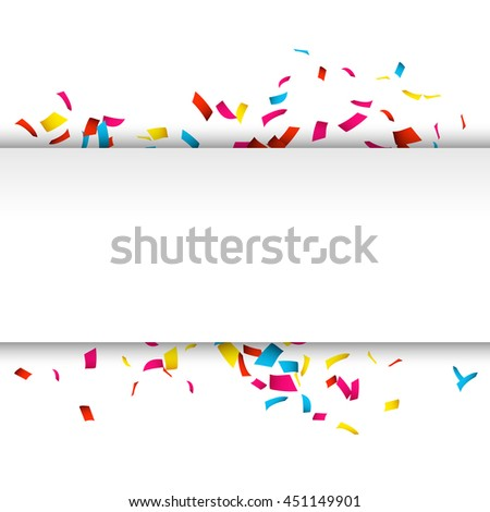 Colorful Confetti banner isolated on white. Confetti explosion banner with place for text.