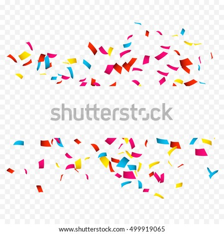 Colorful Confetti banner isolated on white. Confetti explosion banner with place for text on transparent.