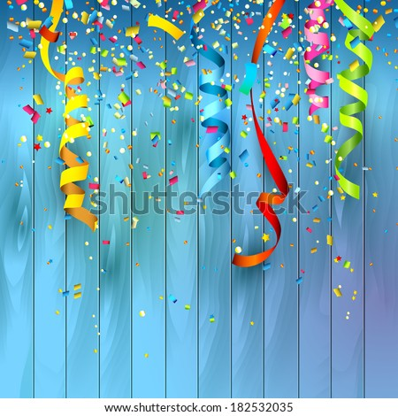 Colorful confetti on wooden background - stock vector