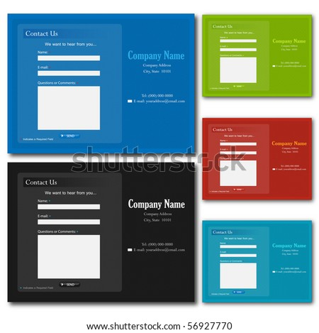 Colorful contact web forms. - stock vector