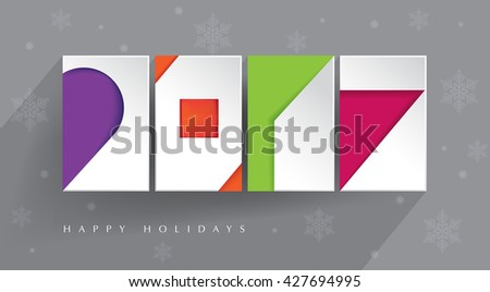 Colorful, contemporary design. Four color blocks with white paper 2017 cut-outs on gray background with long shadow. Happy Holidays. New 2017 year. Illustration.