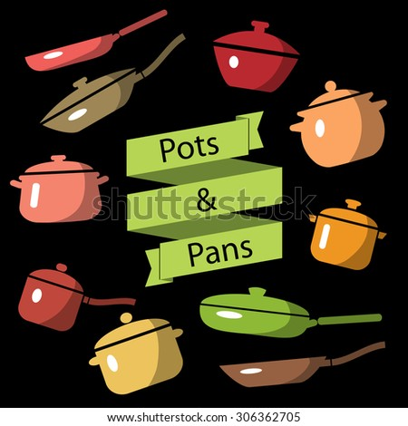 Colorful cookware icon set. Pots and pans vector illustration. Vintage label. Green ribbon banner design element. Ceramic dishware. - stock vector