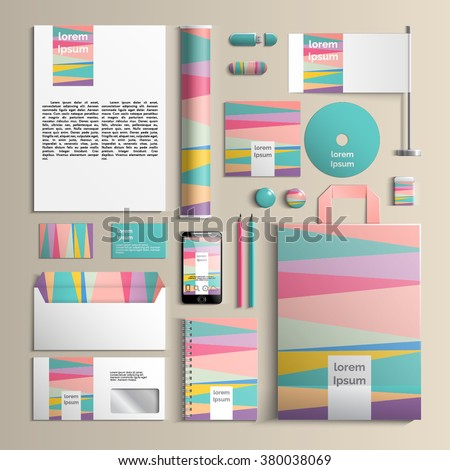 Colorful corporate identity template with stripes creative pattern. Vector company style for brandbook and guideline. EPS 10 - stock vector