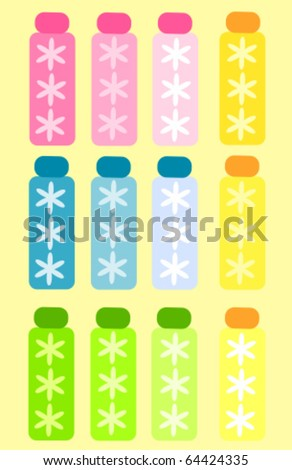 Colorful cosmetic spa bottles collection. Vector illustration - stock vector