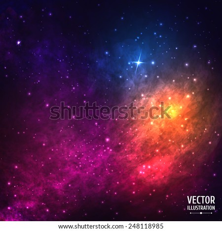 Colorful Cosmic Background with Light, Shining Stars, Stardust and Nebula. Vector Illustration for artwork, party flyers, posters, banners - stock vector