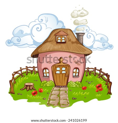 Colorful  countryside house with a garden on a summer day  - stock vector