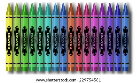 Colorful Crayon Set with Shadows (EPS10 Vector) - stock vector