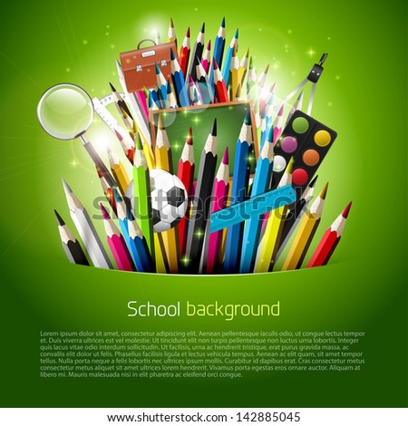 Colorful crayons and school supplies in green pocket - stock vector