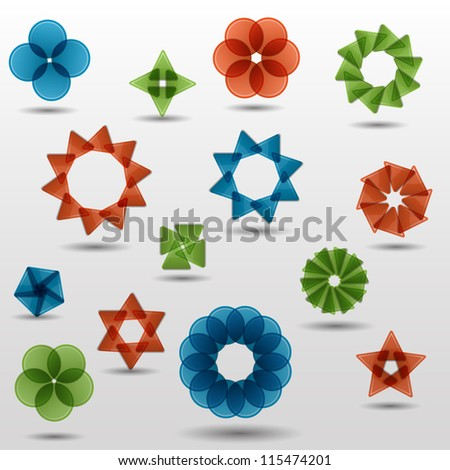 Colorful creative  abstract vector symbol set with triangle - stock vector