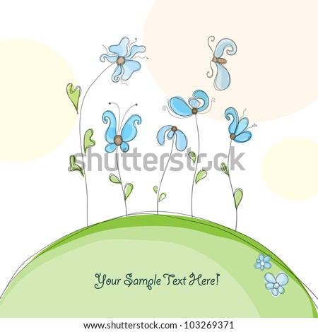 Colorful creative modern abstract nature editable hand drawing vector background with spring flowers pattern textures - stock vector