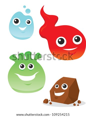 Colorful Creatures, Smiling, Elemental Water Fire Rock, vector illustration - stock vector