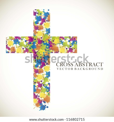 colorful cross abstract over vintage background. vector illustration - stock vector