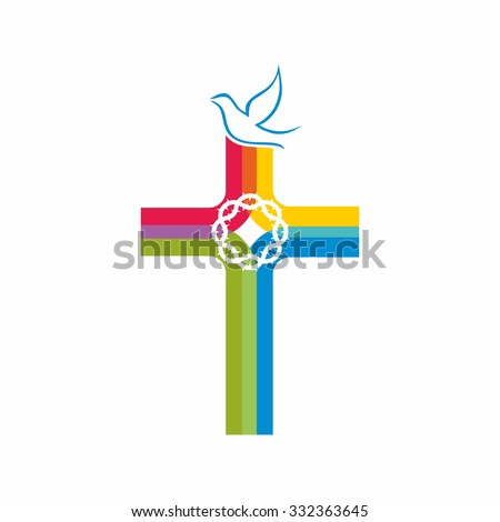 Colorful cross, dove and crown of thorns - stock vector