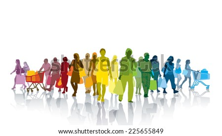 Colorful crowd of shopping people. Happy people holding shopping bags - stock vector