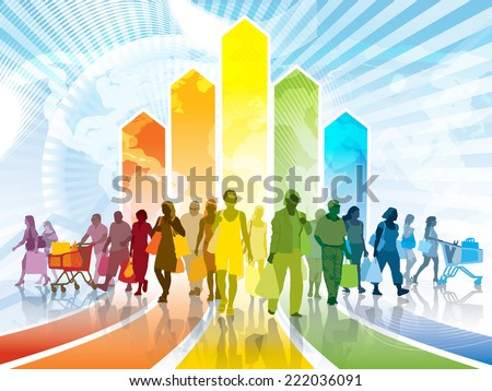 Colorful crowd of shopping people. Happy people holding shopping bags. EPS 10.  - stock vector