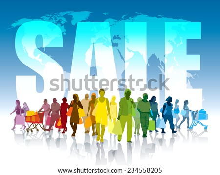 Colorful crowd of shopping people in front of world map and white large word - sale.