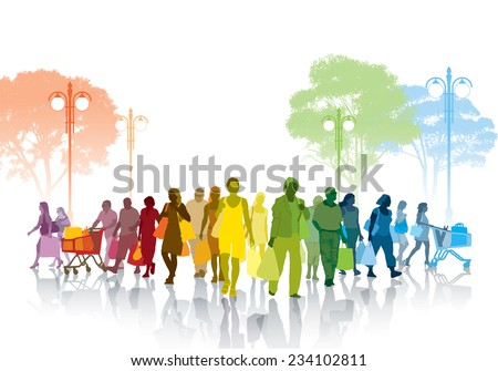 Colorful crowd of shopping people walking on a street. - stock vector