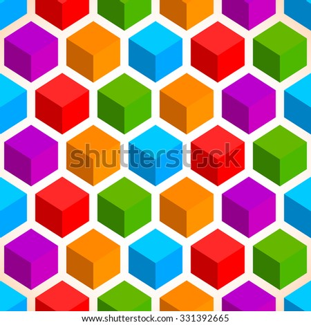 Colorful cubes background. Seamlessly repeatable pattern - stock vector