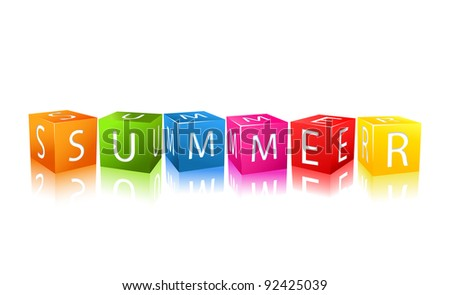 Colorful Cubes Composed In Word Summer. Vector Illustration - stock vector