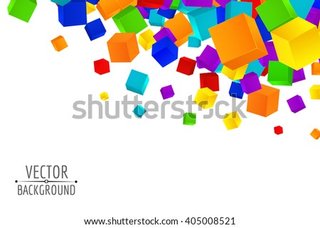 Colorful cubes composition. Background template.Vector cubes. - stock vector
