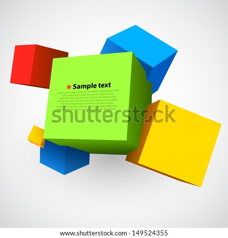 Colorful cubes 3D - stock vector