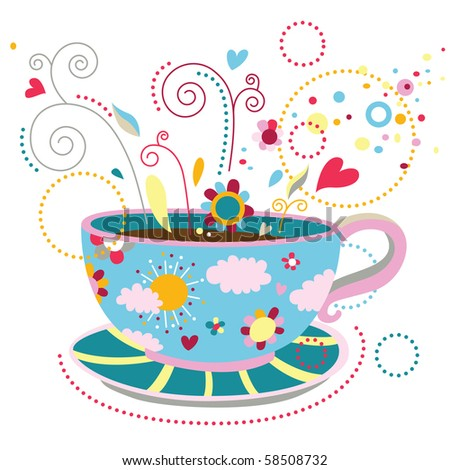 Colorful cup of coffee that represent happiness, feeling good, relaxation, enjoying simple pleasures of life. - stock vector
