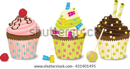 Colorful Cupcakes Set. EPS10 - stock vector