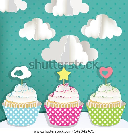 Colorful cupcakes with clouds - stock vector
