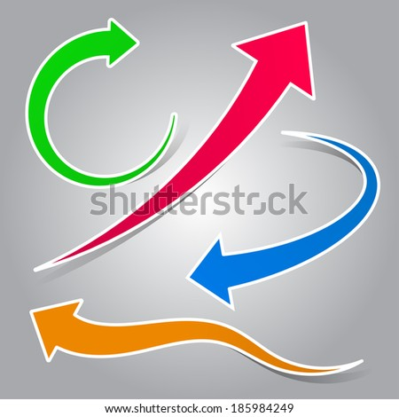 Colorful curved arrow set illustration - stock vector